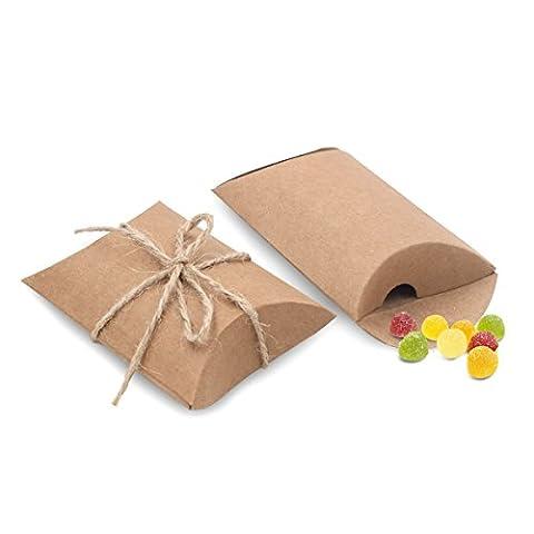 Bindex 50 Stück Vintage-Stil Geschenkboxen aus Kraftpapier mit Juteschnur Hochzeit Geschenkverpackung Tüten für süßigkeiten (Ausstecher Weihnachten Geschenk)