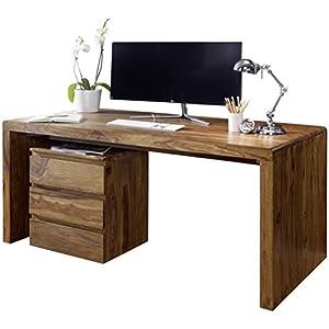 FineBuy Schreibtisch Massiv-Holz Sheesham Computertisch 120 cm breit Echtholz Design Ablage Büro-Tisch Landhaus-Stil Natur-Produkt Büro-Möbel dunkel-braun Modern Büroeinrichtung rechteckig 76 cm hoch
