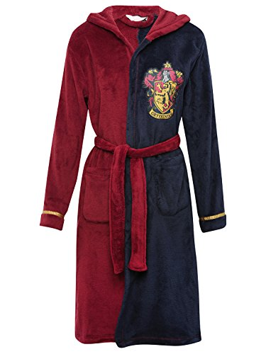 Harry-Potter-Blue-And-Burgundy-Character-Gryffindor-Hooded-Tie-Front-Fleece-Robe