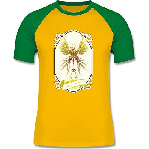 Vintage - Phoenix rising - zweifarbiges Baseballshirt für Männer Gelb/Grün