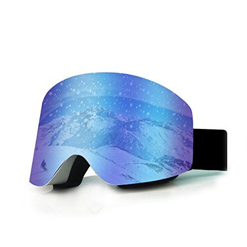 Skibrille, Sisport Snowboard Ski Brille für Männer Frauen Damen Kinder Jungen Mädchen, Doppel-Objektiv UV-Schutz Schneebrille Brillenträger Herren Rahmenlos Snow Goggles