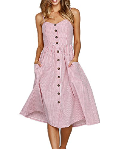 Yieune Sommerkleider Damen Casual Cocktailkleid Ärmellos Blumenmuster Kurzarm Strandkleid Party Abendkleid (Rosa XL) -