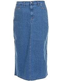 e3f95ff21 Ice Cool Ladies Women's Light Blue Stonewash Stretch Denim Maxi Skirt Sizes  14 to 30