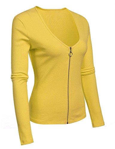 ZEARO Damen Langarmshirt Sexy Reißverschluss Volltonfarbe Rundhals Pullover Bluse Tops T-Shirt Gelb