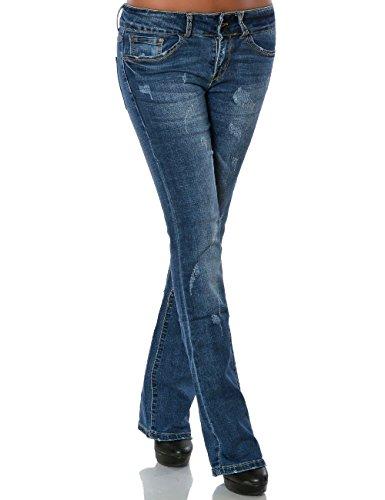 Damen Boot-Cut Jeans Stretch Jeanshose Denim Hose Schlaghose No 15774, Farbe:Blau, Größe:XL / 42 (Fit-bootcut-stretch-jeans)