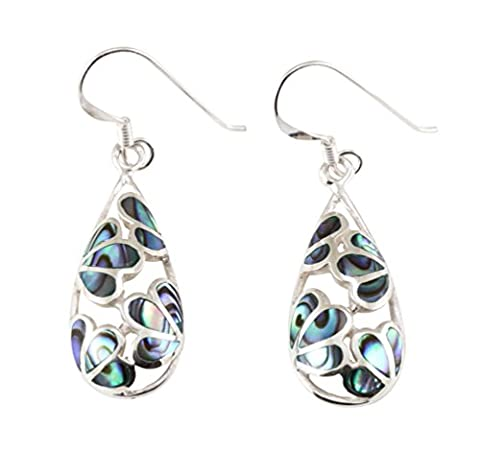 Damen Ohrringe, Abalone Paua Muschel, Sterling-Silber 925