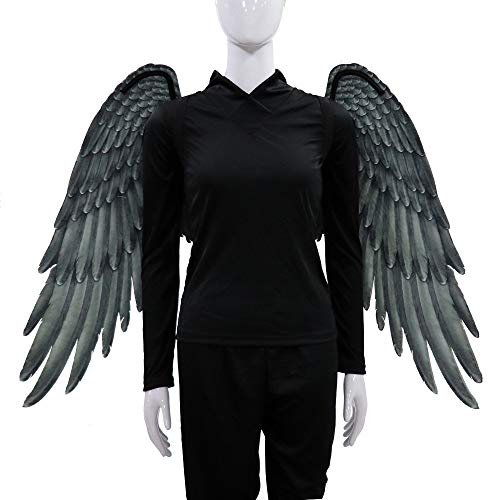 Kostüm Angel Black Männer - HOMDREAM Halloween Engelsflügel Vlies 3D Engelsflügel Halloween Thema Party Cosplay Kostüm Zubehör Für Erwachsene Männer Frauen,Black