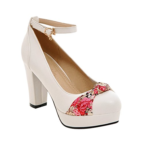 Mee Shoes Damen Ankle strap Plateau Schleife chunky heels Pumps Weiß