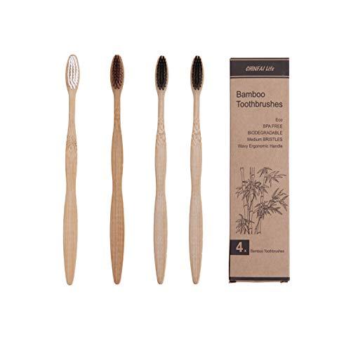 Bambuszahnbürsten - BPA-frei und 100% kunststofffrei - umweltfreundliche ergonomische Holzgriff-Holzzahnbürsten - mittlere Borsten (4er Pack Erwachsene Größe) - Mittlere Fassung