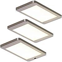 LED 4-er Set Möbel-//Küchen-//Unterbauleuchte je 3 Watt Edelstahl 3200 K *548873