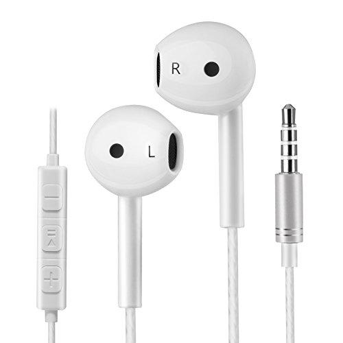 Loquiet in-Ear Kopfhörer in Stereo | High End Earphone | Bass | Anti-Verheddert | Sport Kopfhörer für iOS- und Android-Geräte -Weiß