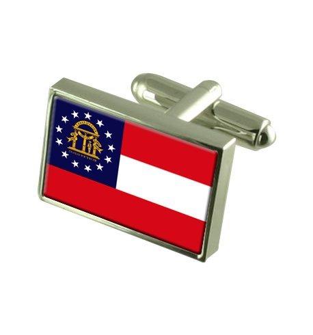 Georgia Landesflagge Manschettenknöpfe mit Tasche Geschenke auswählen Tasche Georgia