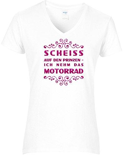 elegantes Shirt Damen Biker Scheiss auf den Prinzen ich nehm das Motorrad Glitzeraufdruck pink, T-Shirt weiss, Grösse M (Lustige T-shirts Motorrad)
