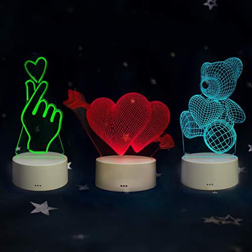 3Pcs 3D Lampe Optische LED Täuschung Nachtlicht Sheng Xuan 7 Berühren Farbwech Stimmungslicht USB Power Schreibtisch Lampe Tischleuchte(Als Herz, Liebe, Kamera)
