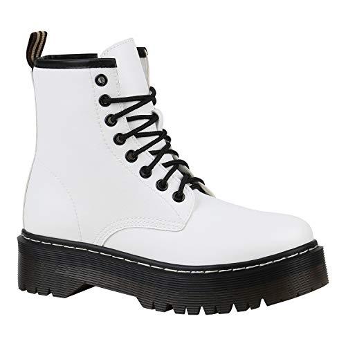 Stiefelparadies Gefütterte Damen Plateau-Boots Profil Sohle Stiefeletten Weiss 38 Flandell