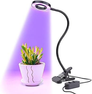 Longko 18 LED Grow Plantas 10W 3 modos y 2 de nivel regulable Clip Lámpara de escritorio con 360 ° Cuello flexible