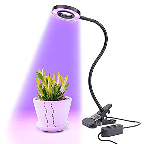 LONGKO LED Grow Light - 18 LEDs Plant Lights, Growing Lamps, 10W 2-Level Dimmable 3 Modes Desk Lamp with Flexible Gooseneck for Indoor Greenhouse Hydroponics Garden Plants