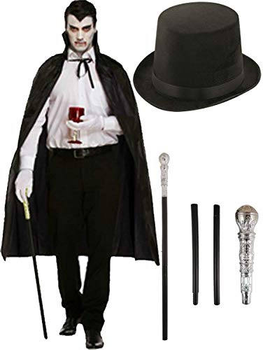 Hüte Hut Top Silver Kostüm - labreeze Erwachsene Schwarzer Umhang Lincoln Top Hut Silver Cane Stick Halloween Vampir Kostüm