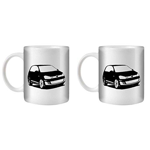 STUFF4 Tee/Kaffee Becher 350ml/2 Pack Schwarz/Golf GTD Mk7/Weißkeramik/ST10 -