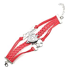 One Direction red dial Heart Charm Bracelet Watch - 1D watch-heart Red