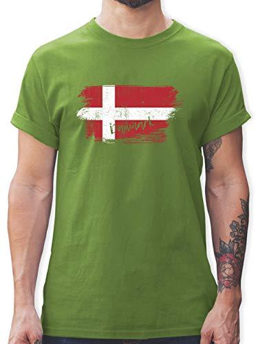 Handball WM 2019 - Dänemark Vintage - L - Hellgrün - L190 - Herren T-Shirt Rundhals