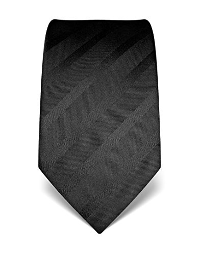Vincenzo Boretti Herren Krawatte reine Seide Ton in Ton gestreift edel Männer-Design gebunden zum Hemd mit Anzug für Business Hochzeit 8 cm schmal / breit schwarz (Seide Krawatte Reine Schwarz)