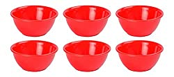 9colors Unbreakable 06 Pcs Red Plastic Bowl Set (Microwave Safe / BPA Free )