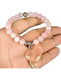Crystu Rose Quartz Bracelet With Rose Quartz Heart Charm Bracelet DC 8mm For Reiki Healing And Vastu, Meditation...