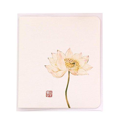 leisial 10PCS Lotus Grußkarten mit Umschlag chinesischen Kultur Gedicht Classic Papier Karten für Hochzeit Valentinstag Geburtstag Geschenk (15,6* 8.7cm)