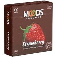 MOODS Strawberry Condoms - 3 Kondome für überraschendes Vergnügen mit fruchtigem Aroma preisvergleich bei billige-tabletten.eu