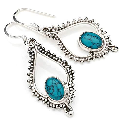 Ohrringe Ohrhänger Silber 925 Sterlingsilber Türkis blau grün Stein 14 mm x 41 mm (MOH 82)