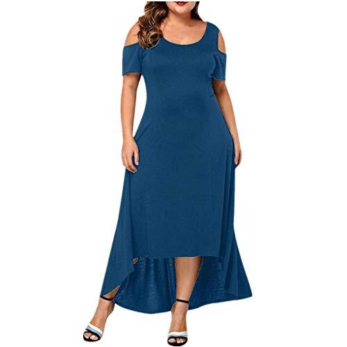 Damen Sommer Casual Seitenschlitz Übergröße Maxikleid Partykleid Einfarbig Einfach Bequem Freizeit Sommerkleider Plus Size Hemdkleid (Blau, EU-48/CN-4XL) ()