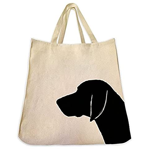 German Shorthair Pointer Dog Silhouette Portrait Design Extra Large Eco Friendly Cotton Twill Tote