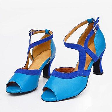 donna in pelle scamosciata con tacco alto sandali da danza latina Salsa Blue