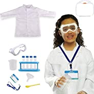 Yalla Baby Lab Coat for School Kids Scientist Costume, Protective Goggle Glass for Kids Boys Girls Dress up Ro