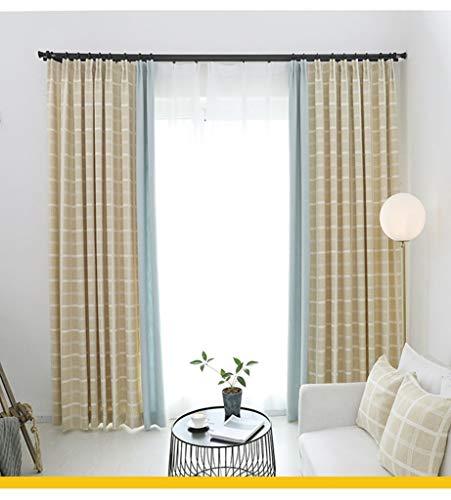 HAIYUANNAN Schattierung Vorhang Einfach Modern Stil Nähen Kariert Chenille Wohnzimmer Schlafzimmer Landung Eine Scheibe Anschließen Blau Gitter