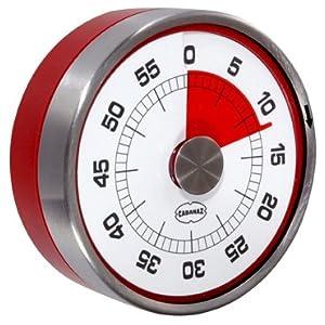 Cabanaz Capventure Contaminuti magnetico da cucina, stile vintage, colore: Rosso scarlatto/Bianco