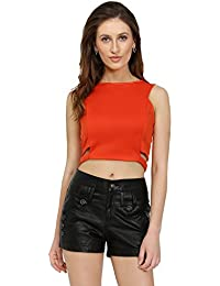 Women Cut Out Orange Crop Top