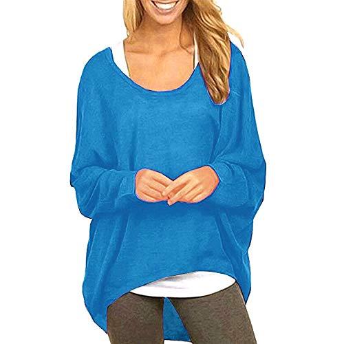 Tohole Damen Lose Asymmetrisch Sweatshirt Pullover Bluse Oberteile Oversized Tops T-Shirt