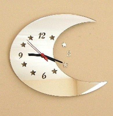 Luna Espejo - 25cm Reloj espejo manos negras