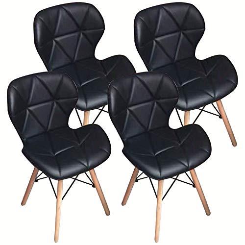 NICEMOODS Home Office Esszimmerstühle Set 4, Moderne Stühle aus weichem Leder mit Holzbeinen, Gepolsterte Schwarze Bürostühle Schwarz