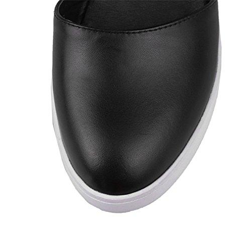 Damen Sandalen Einfach Schick Atmungsaktive Keilabsatz Bequem Schnalle Leicht Rutschfest Halbschuhe Schwarz