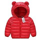 Bambino Piumino Inverno Giacche di piuma Cappotto con Cappuccio Ragazzi Ragazze Leggero Giubbotti Rosso 2-3 Anni