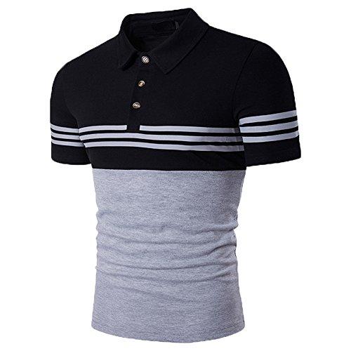 Glestore Uomo Estate Casual Striscia Scollo Manica Corta Magliette Polo T-shirt Tops nero1