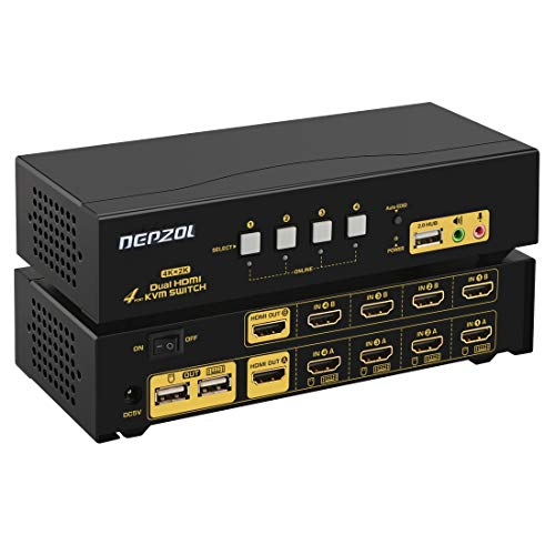 DEPZOL HDMI KVM Switch Dual Monitor 4-Port Extended Display 4K @ 30Hz, Auswahlbox für Tastatur-Video-Maus mit Audio, USB 2.0-Hub und Kabelsätzen 942HUA 4-port Hdmi Video