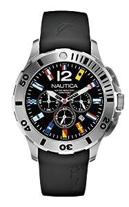Nautica A18636G - Reloj cronógrafo de cuarzo para hombre, correa de silicona color negro de Nautica