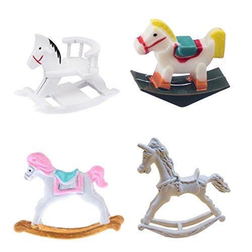 MagiDeal 1:12 Casa Bambole Miniatura Mobili Cavallo Dondolo Elegante Moda Decor Camera Da Bambini Metallo Plastica Legno
