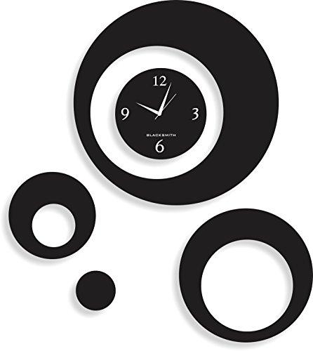 Blacksmith Aluminium Multi Round Wall Clock (Black, NBS 29)