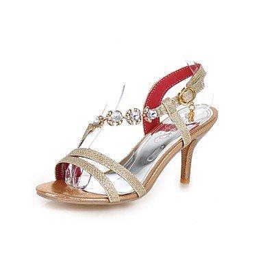 RTRY Donna Sandali Comfort Estivo Pu Abbigliamento Sportivo Parte &Amp; Sera Stiletto Heel Crystal Fibbia Oro Argento Rosso A Piedi US5 / EU35 / UK3 / CN34