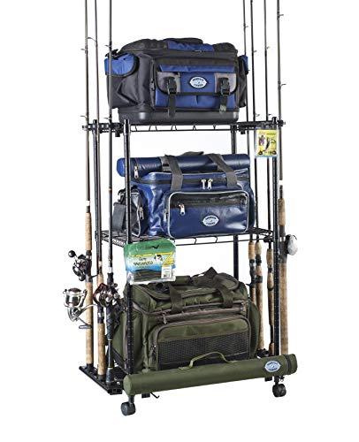Organisiert Angeln verstellbar 3Ablagen aus Rolling Tackle Trolley für Angeln Tackle Storage, hält bis zu 12Angeln, wfr-012 -